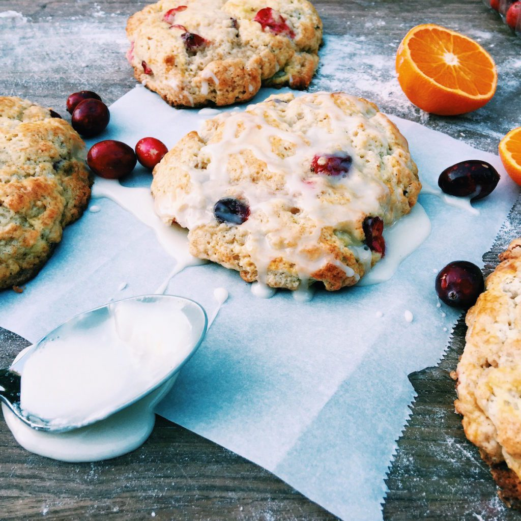 holiday cranberry orange scones | Recipe via DisplacedHousewife