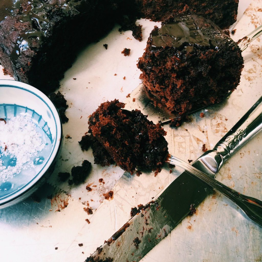 triple chocolate banana cake + espresso-nutella drizzle | Recipe via DisplacedHousewife