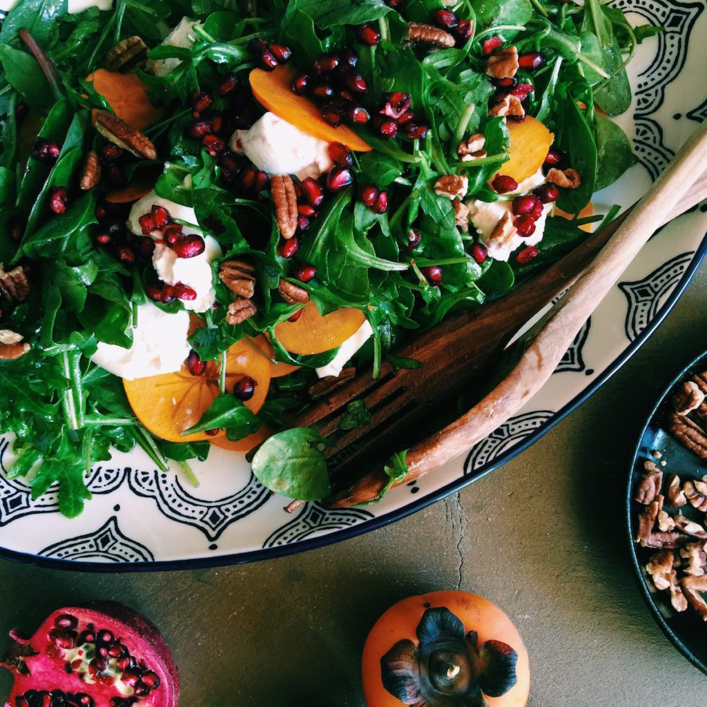 pomegranate + burrata salad | Recipe via DisplacedHousewife