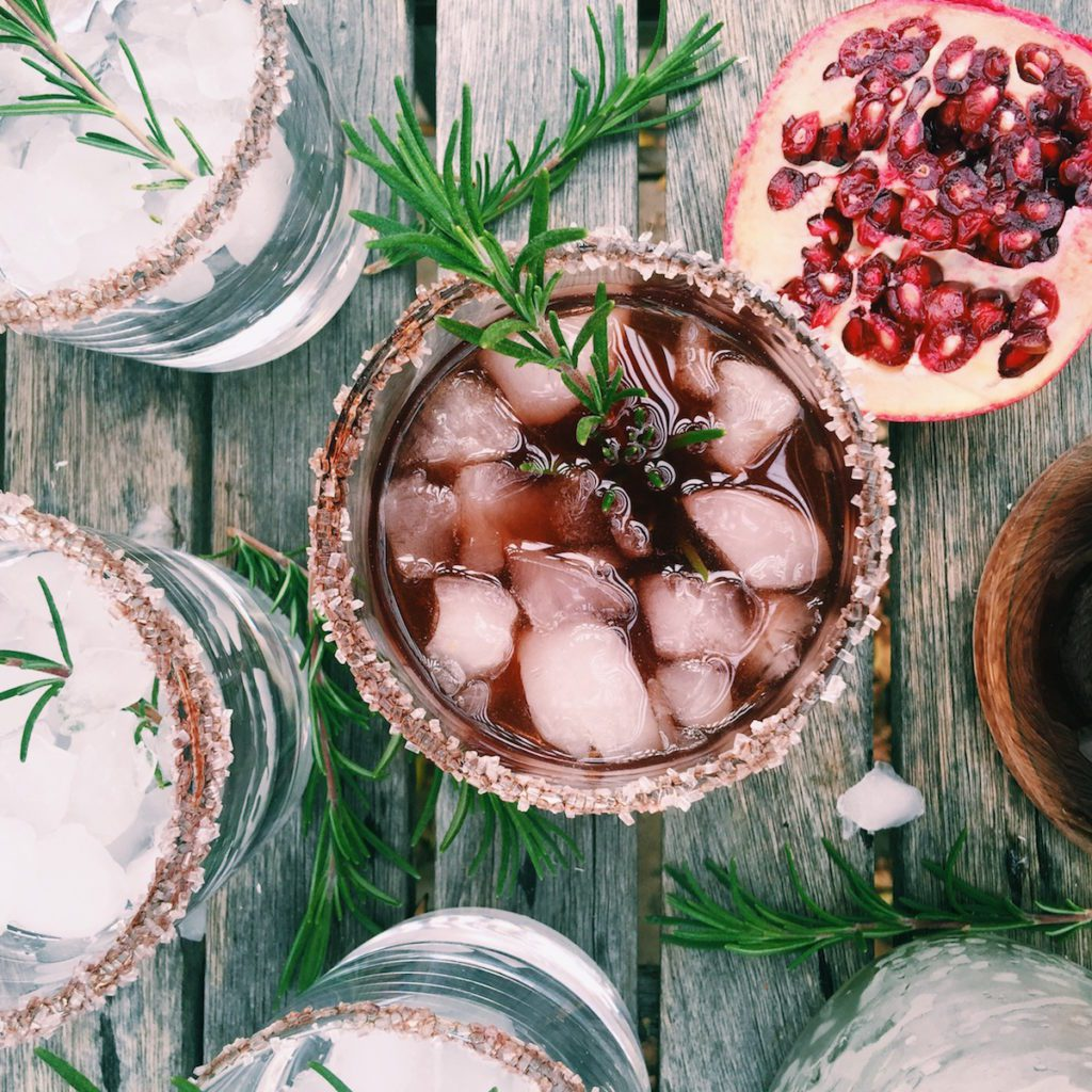 pomegranate + rosemary cocktail | Recipe via DisplacedHousewife