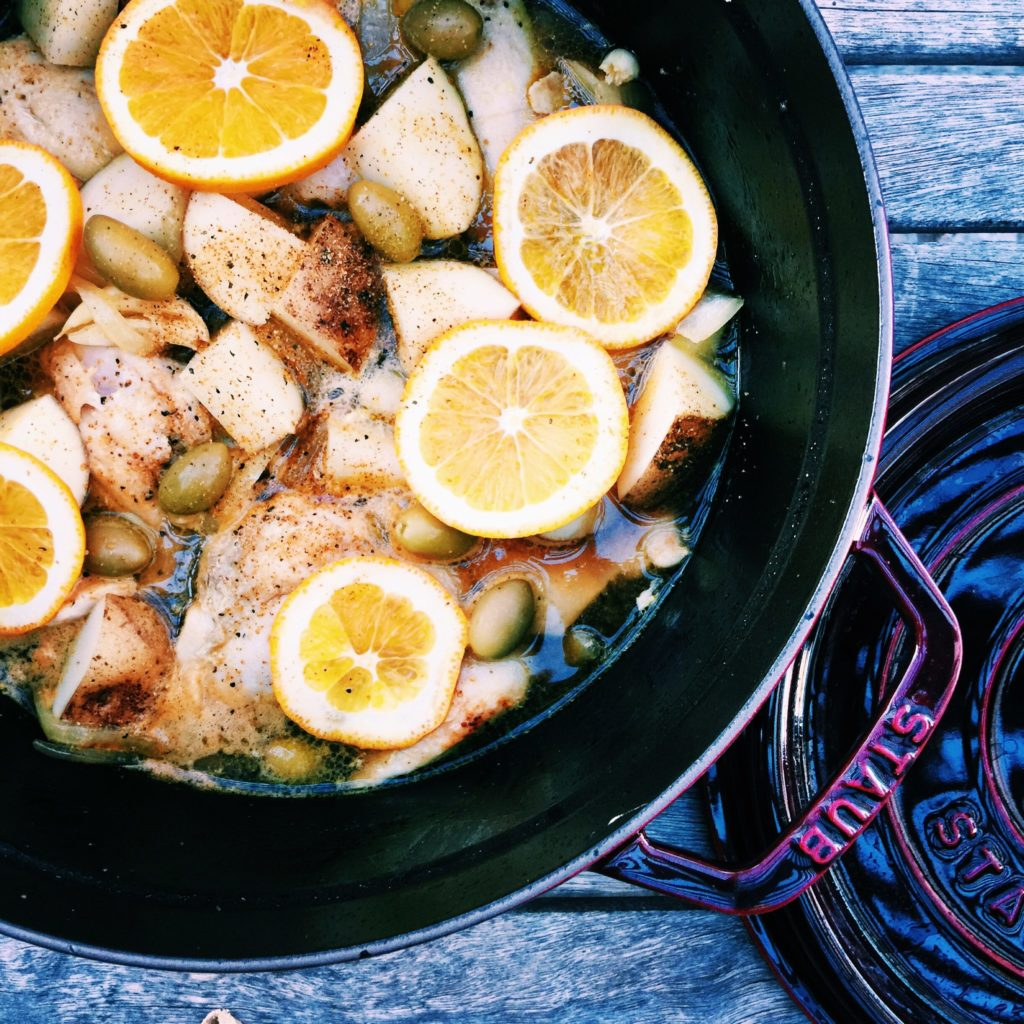 braised datil chicken with olives + oranges | Recipe via DisplacedHousewife