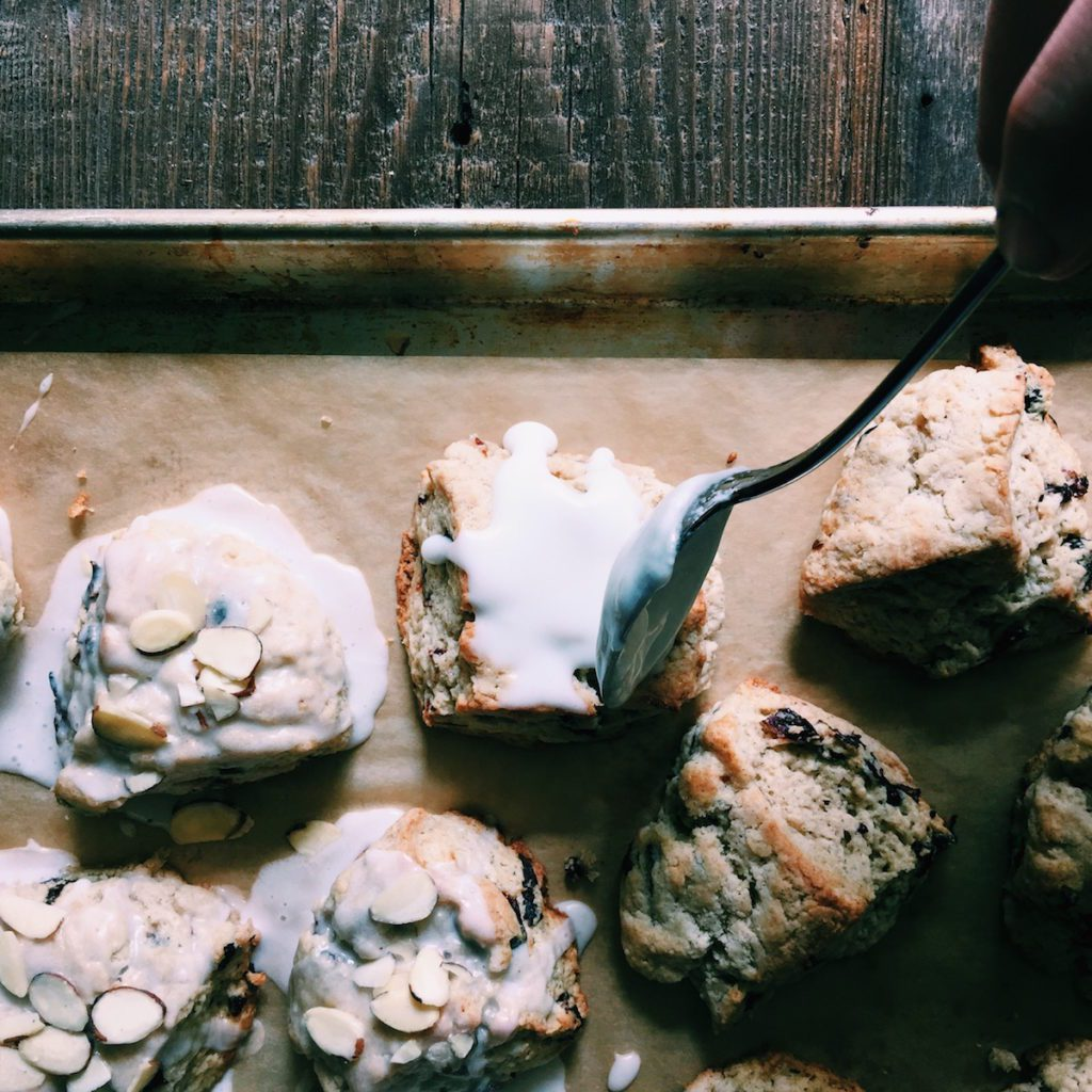 cherry almond scones | recipe via DisplacedHousewife | lots of photos + scone-making tips