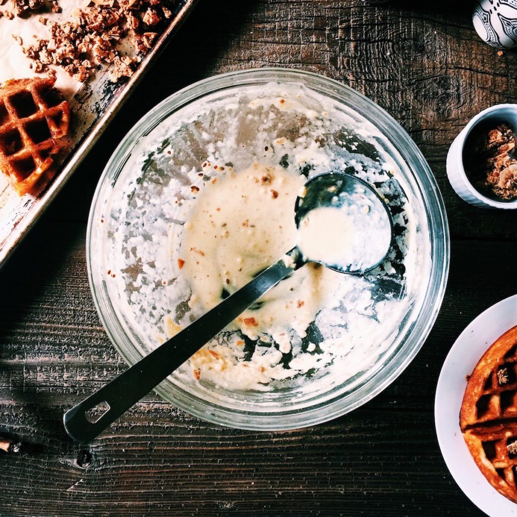 chai-spiced granola waffles | Recipe via DisplacedHousewife