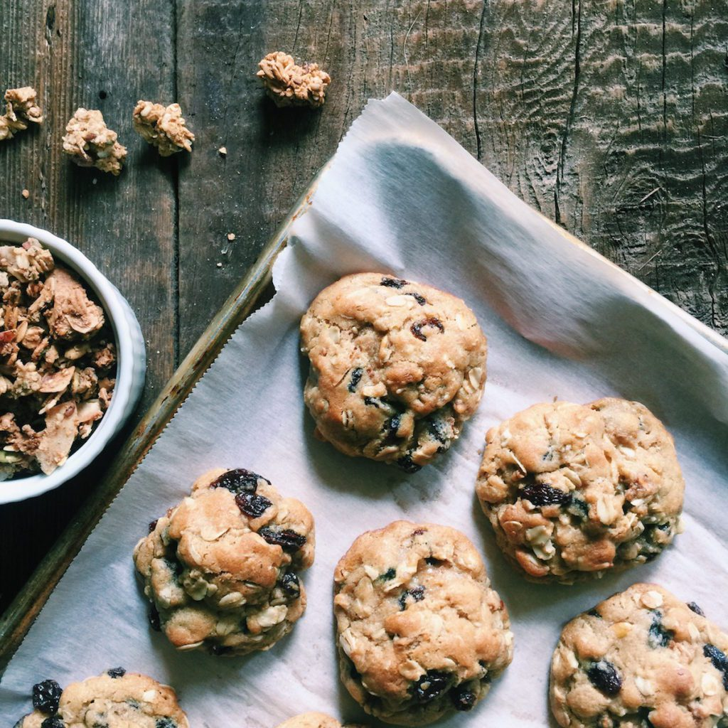 chai-spiced oatmeal granola cookies | Recipe via DisplacedHousewife | loaded with chai-spiced granola + tart cherries