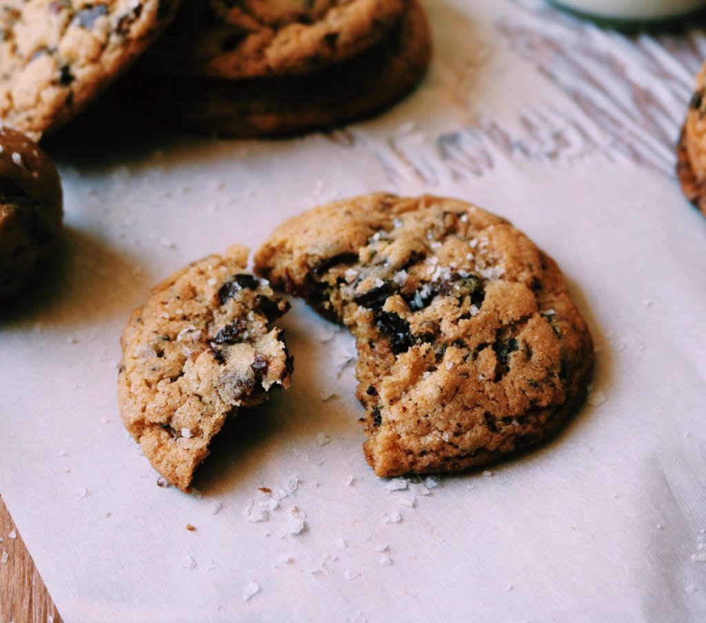 dark chocolate, tart cherry + sea salt cookies | recipe via displacedhousewife | quick + easy cookie recipe loaded with cherries and chocolate...crispy on the edges, chewy in the middle @displacedhousewife