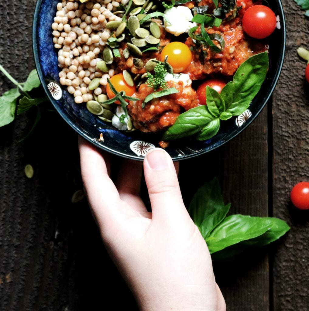 Middle Eastern Meatball + Isreali Couscous Bowl | DisplacedHousewife