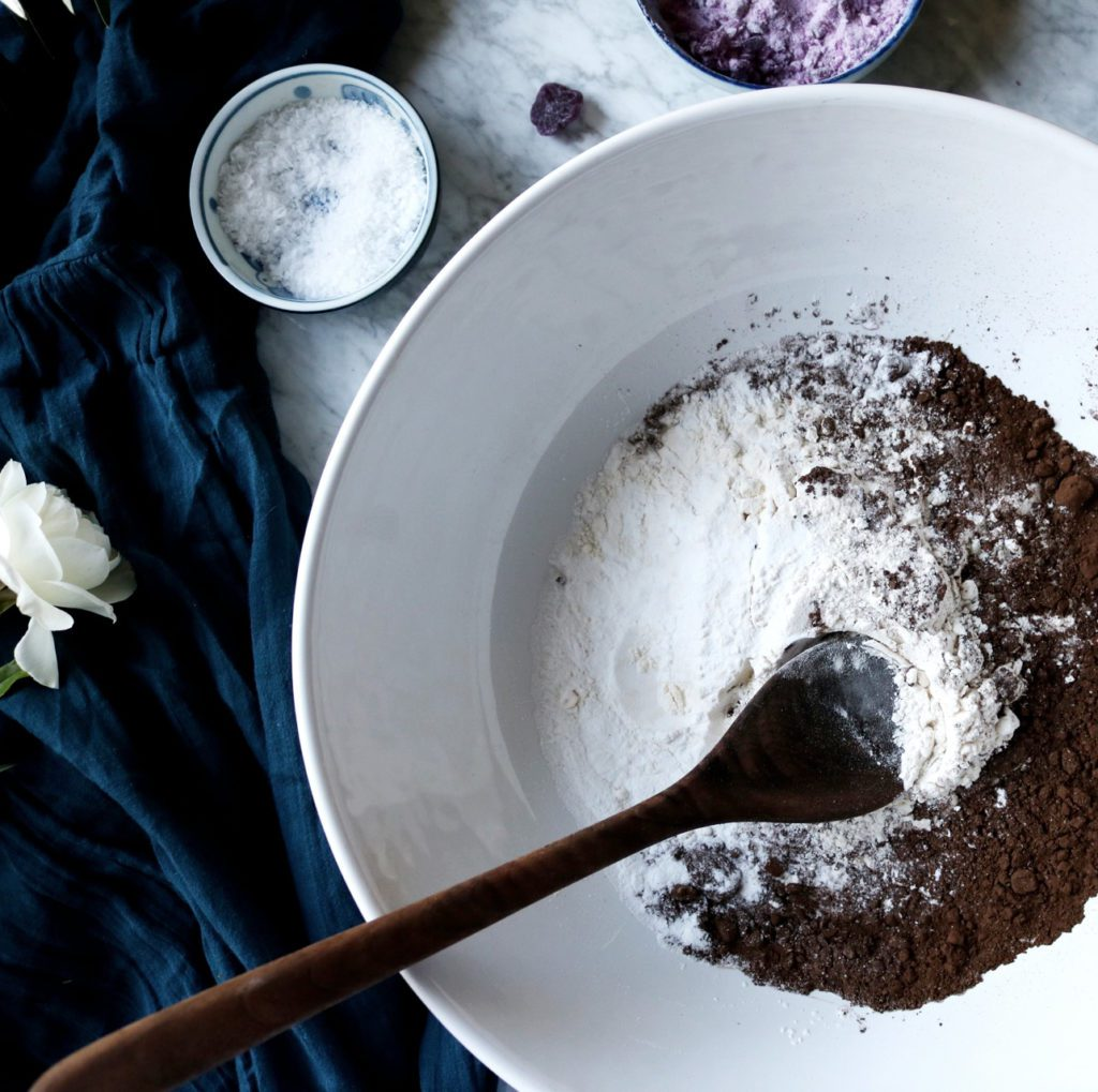 Dark Chocolate Violet Cookies | Recipe via DisplacedHousewife | A super dark chocolate dough is studded with ribbons of dark chocolate and crushed french violet hard candies.