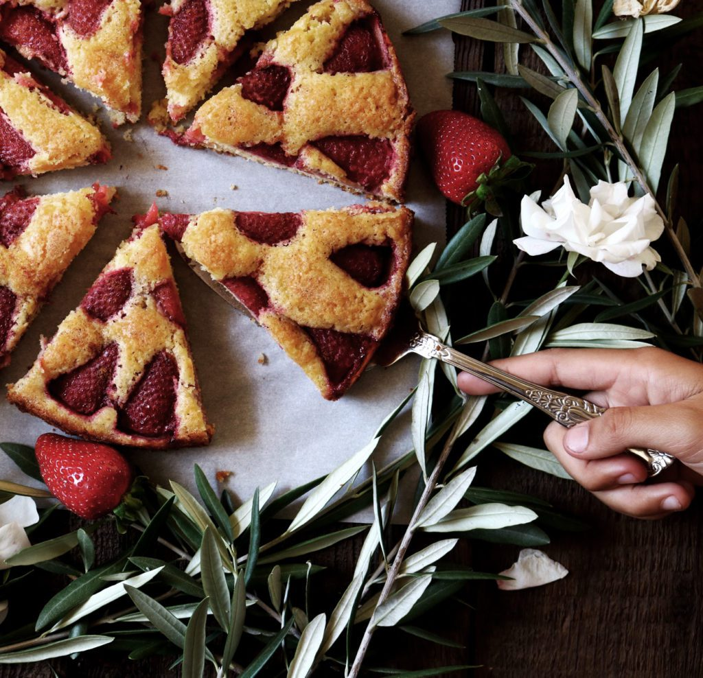 Strawberry Cardamom Torte | recipe via DisplacedHousewife | your about to meet the easiest + most beautiful dessert ever. You're welcome.
