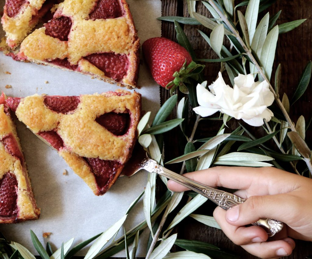 Strawberry Cardamom Torte   recipe via DisplacedHousewife   your about to meet the easiest + most beautiful dessert ever. You're welcome.
