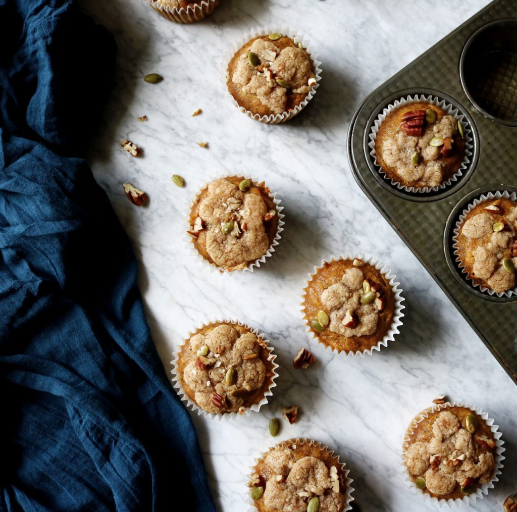 Pumpkin Spice Streusel Muffins | Recipe via DisplacedHousewife | super moist + delicious and easy to make!