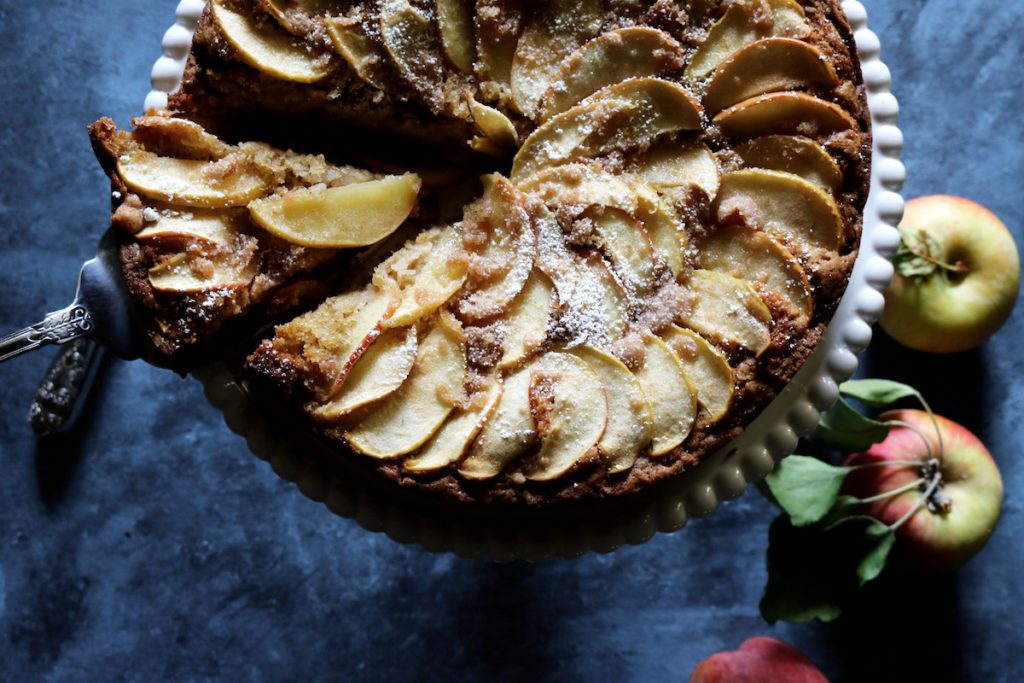 Spiced Apple Cake | Recipe via DisplacedHousewife | Loaded with apples inside the cake and fanned about on top...quick enough to be called an afternoon cake, pretty enough for special occasions!
