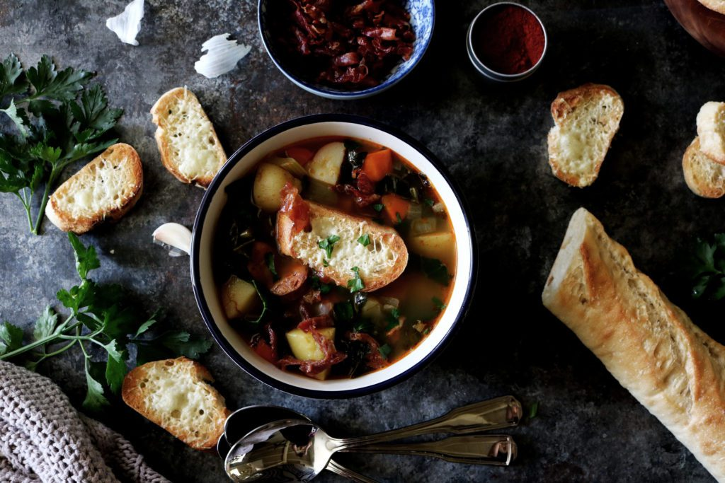 Portuguese Soup With Crispy Prosciutto + Manchego Toast | Recipe via DisplacedHousewife