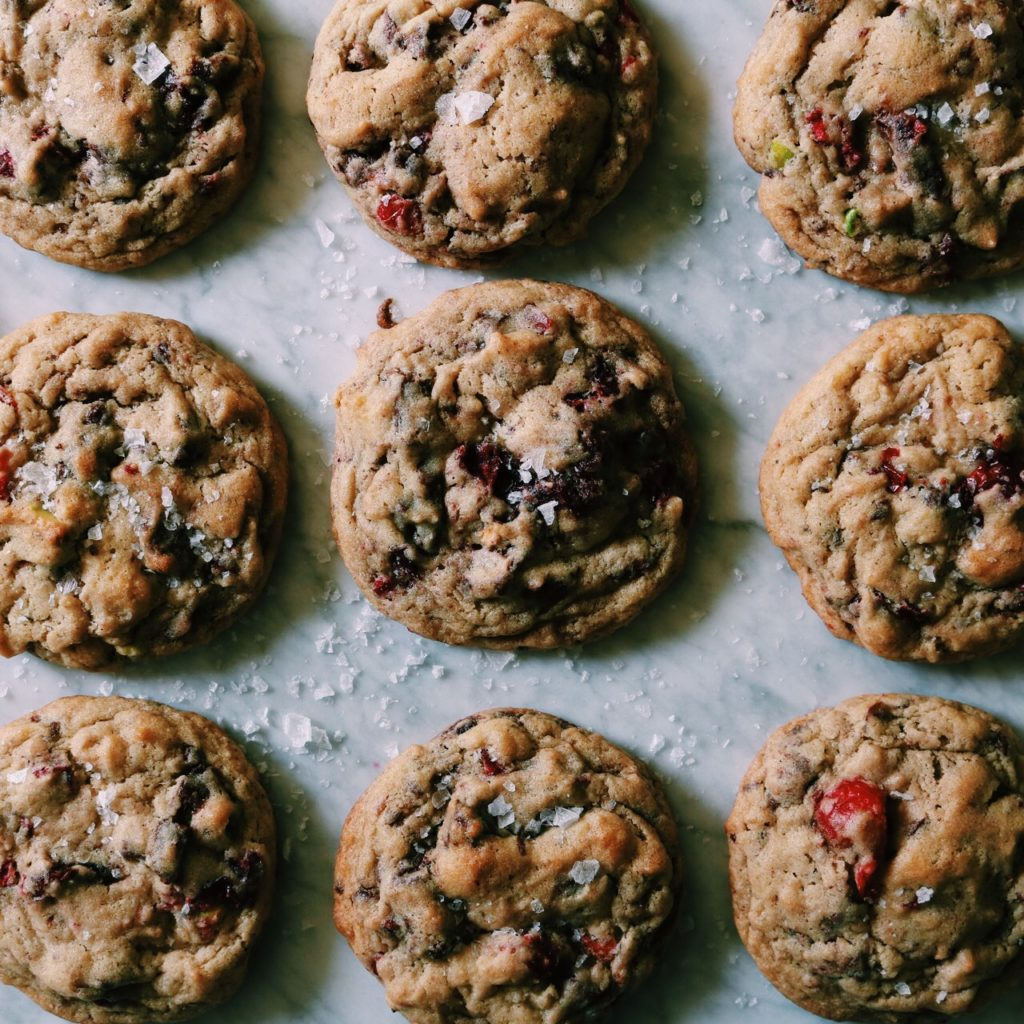 Cranberry Bark Peace Cookies   Recipe via DisplacedHousewife   Brown butter, spices, pistachios + cranberries