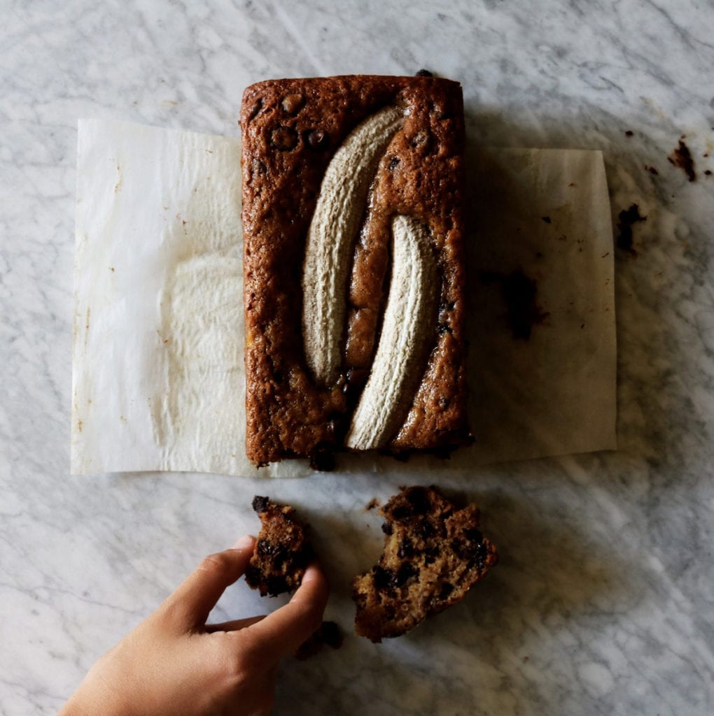 Brown Butter Muscovado Banana Bread | recipe via DisplacedHousewife | this is next level banana bread...loaded with spices and espresso and dotted with chocolate