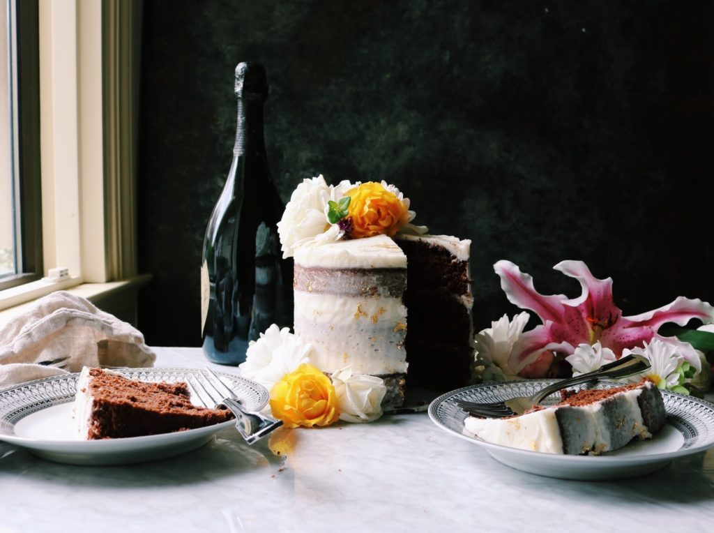 Gilded Dark Chocolate Cake With Champagne Buttercream