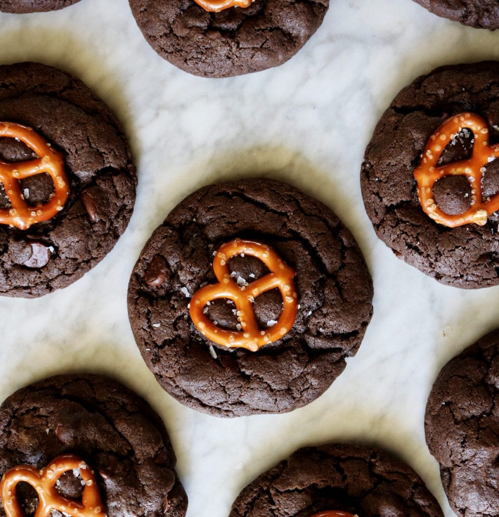 Chocolate Caramel Pretzel Cookies Recipe | Displaced Housewife