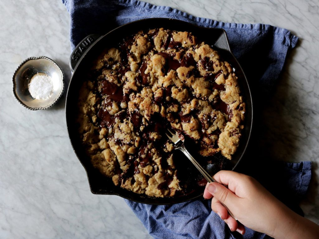 Brown Butter Chocolate-Caramel Skillet Cookie Recipe | Displaced Housewife