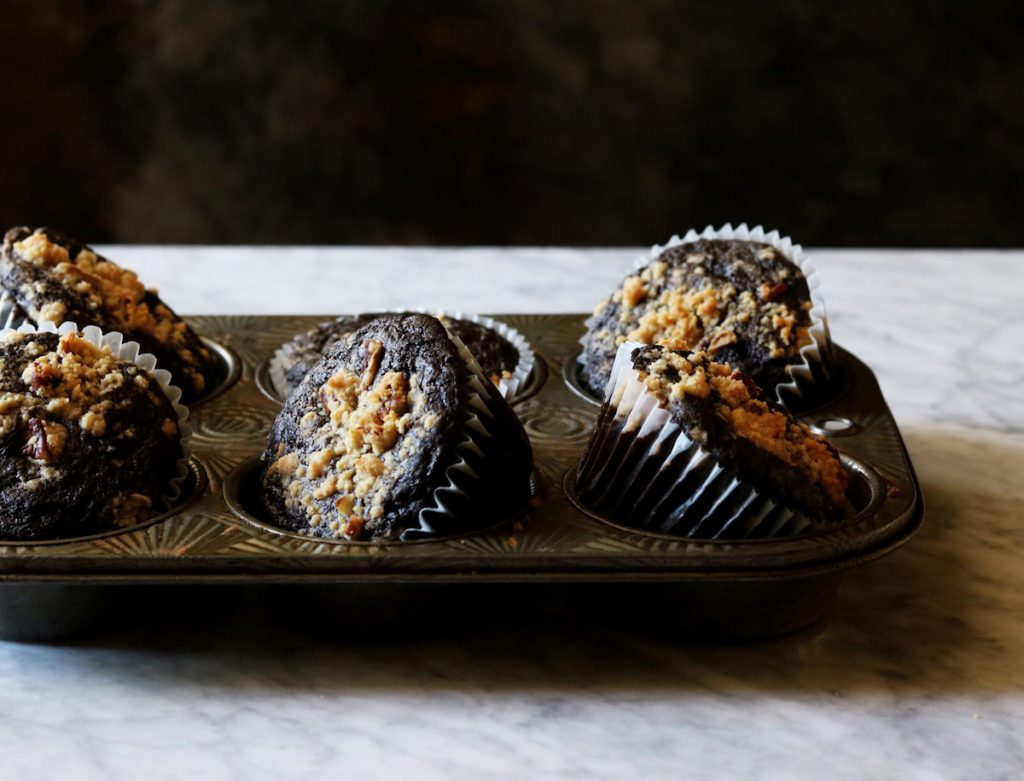 Chocolate Zucchini Muffins With Pecan Crumble recipe | Displaced Housewife