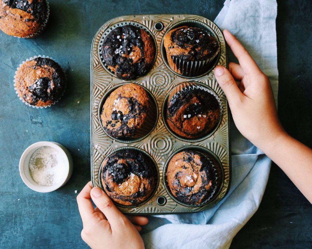 Double Chocolate Pumpkin Swirl Muffins   Displaced Housewife