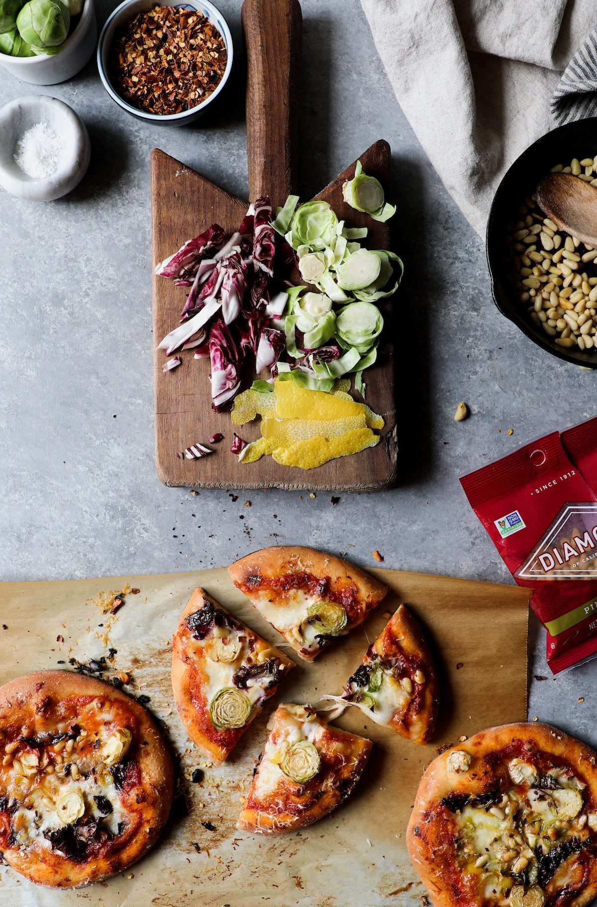 Lemony Brussels Sprouts & Pie Nut Pizza | DisplacedHousewife