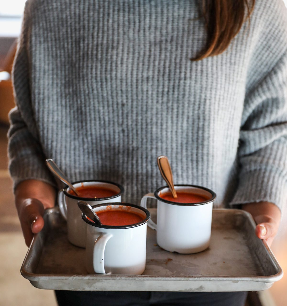 Tomato Soup in Ceramic Mugs | DisplacedHousewife