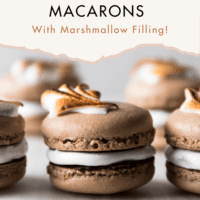 A close-up photo of chocolate French macarons with marshmallow filling