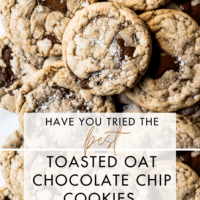 A bunch of toasted oat chocolate chip cookies with a heap of chocolate!