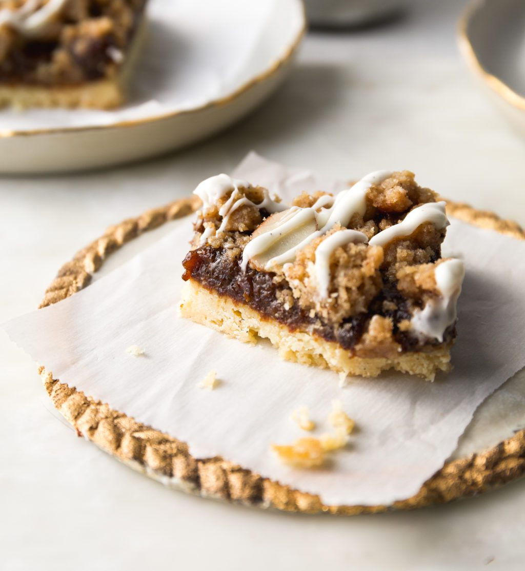 Prune bars with a bite out of them