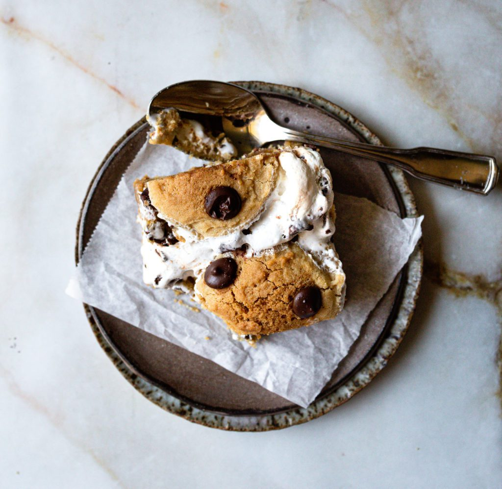 s'mores cookie bar with a bite out of it
