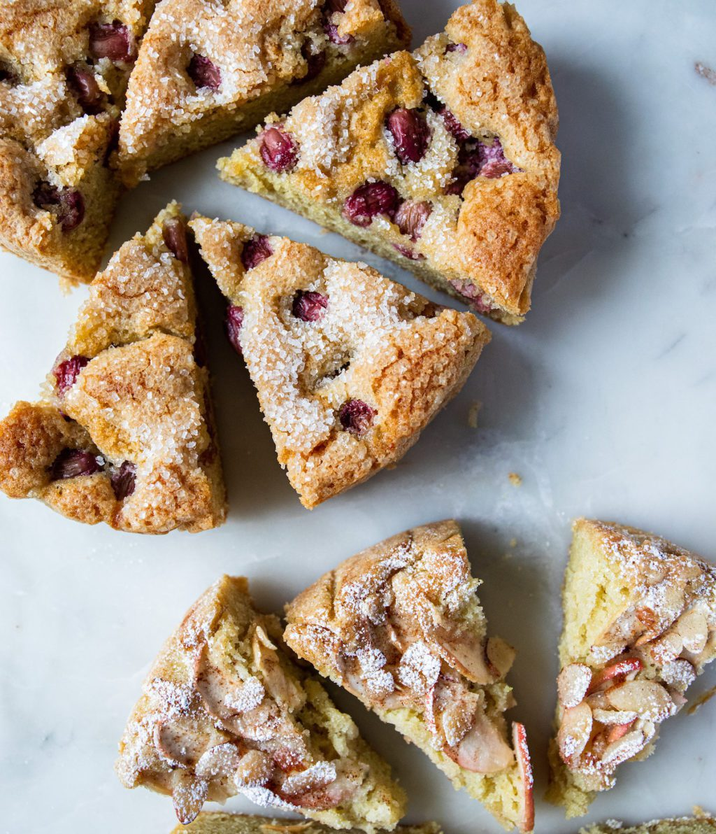 slices of grape and apple cake